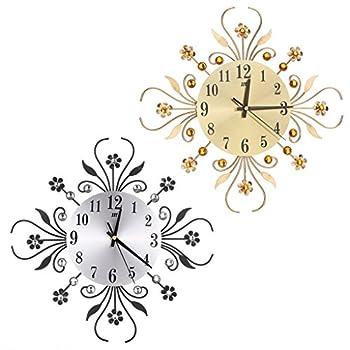 BloomingJS Modern Metal Wall Clock Luxurious Flower Diamond Rhinestone Silent Room Home Office Decor (Gold)