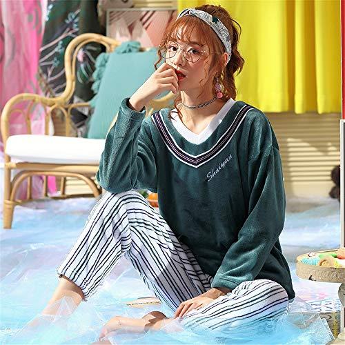 Franela Coral Traje Suelto Baijuxing Pijamas E Camisón Otoño Larga Grueso L Xl Piezas De Invierno Domicilio Lindo Polar 2 Manga Mujer Casual A Servicio Pantalones 6RHYq6