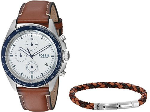 Fossil Men's CH3090SET Sport 54 Chronograph Luggage Leather Watch and Bracelet Box Set