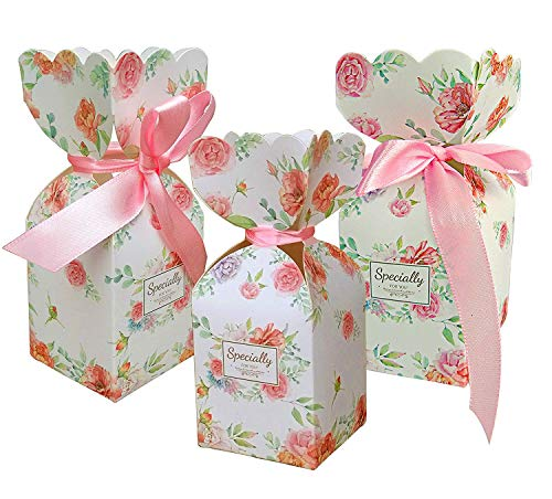 (LASLU 50 Pcs Floral Pattern Candy Boxes Wedding Birthday Party Favor Gift Box with 50pcs Light Pink Ribbon (Light Pink, 5cm x 5cm x 6.5cm))