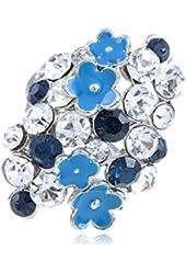 Elegant Silver Tone Two Coloured Rhinestone Enamel Painted Flower Fashion Ring