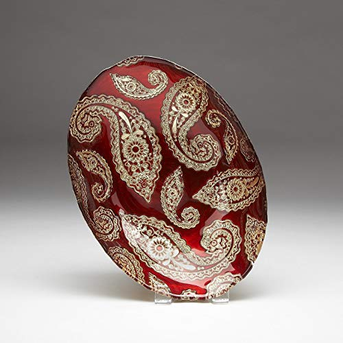 Red Pomegranate Paisley Oval Bowl Red Gold 12-Inch