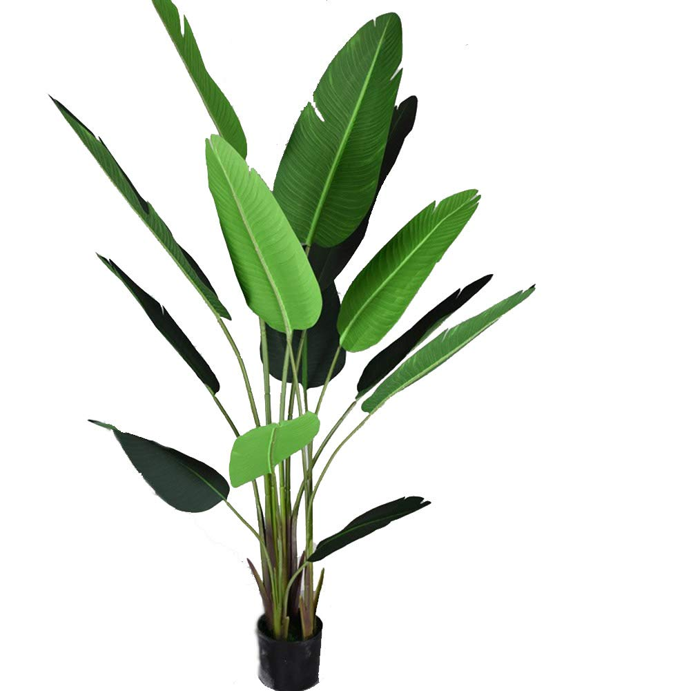 Artificial Banana Tree, Under The Leaves Have Iron Wire Artificial Plant Decoration, Indoor Outdoor Office Conservatory Garden Plant (With Black Pot),120Cm [Energy Class A] Maiaro