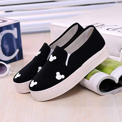 Hasag Deportivos Estudiantes Zapatos Mujer black Zapatos de de Plataforma de para Lona Zapatos Zapatos r5r7SdWg