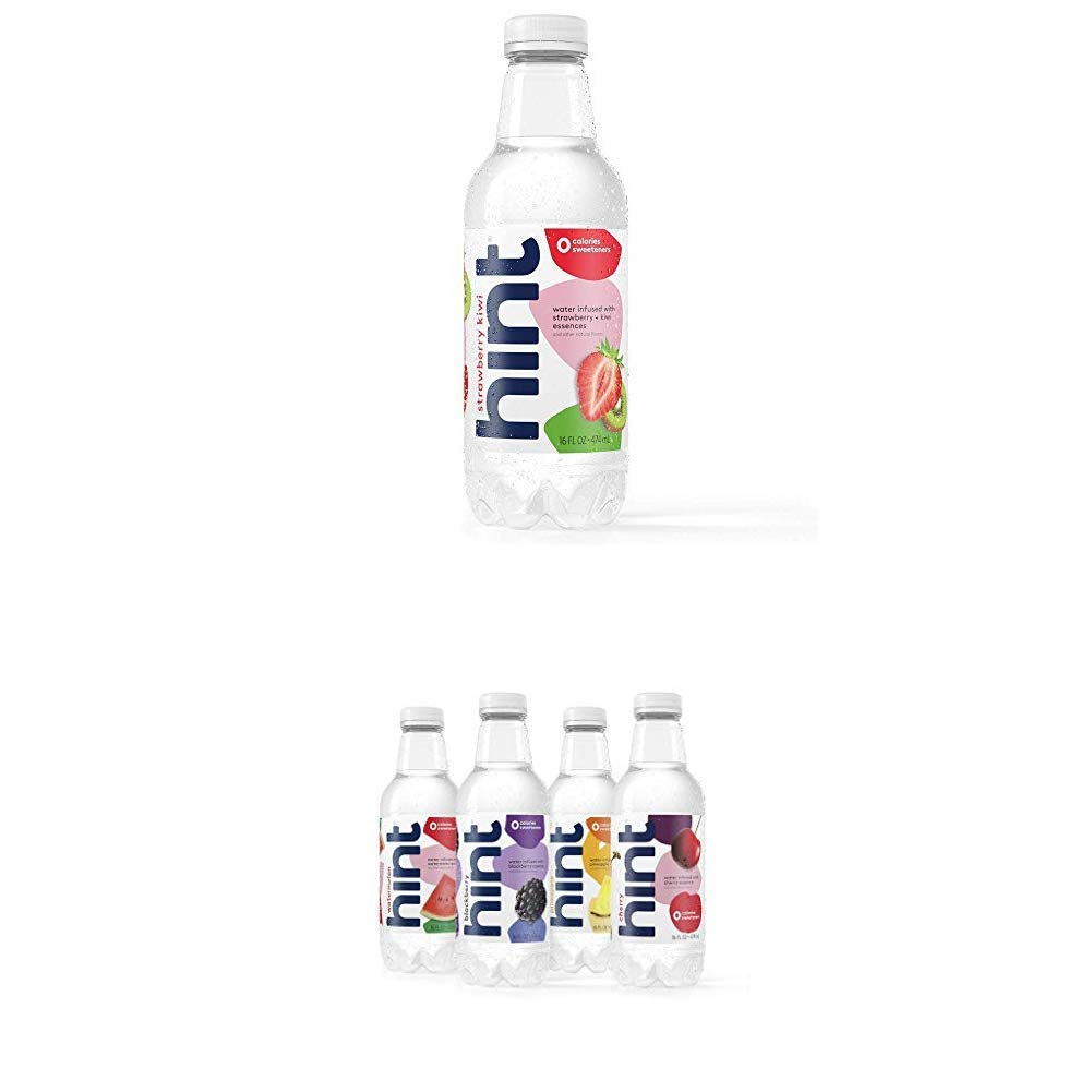 Hint Fruit Infused Water Variety Pack, (Pack of 12) 16 Ounce Bottles and Water Strawberry Kiwi (Pack of 12) 16 Ounce Bottles Pure Water