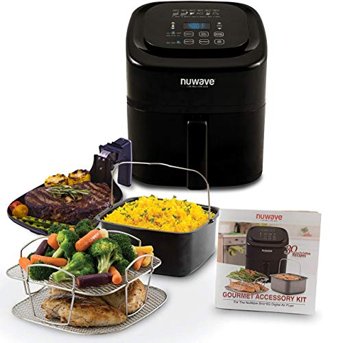 NUWAVE BRIO 6-Quart Digital Air Fryer cooking package with one-touch digital controls, 6 easy presets, precise temperature control, recipe book, basket divider, wattage control, and advanced functions like PREHEAT, REHEAT and more, also includes grill pan