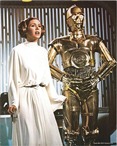 Star Wars C-3PO Standing with Princess Leia Carrie Fisher on Death Star 8 x 10 Inch Photo -