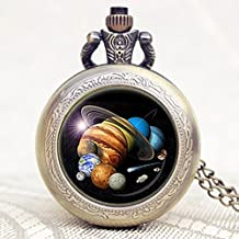 Pocket Watche,Planets of Solar System Pocket Watch Men Women Watches,Gift for Astronomer