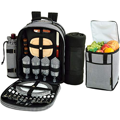Picnic at Ascot Original Equipped Backpack for 4 with Blanket - Extra Bonus Cooler - Designed & Assembled in California - Houndstooth