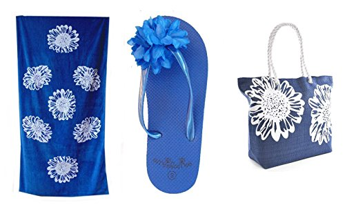 Bolsa de Playa Para Mujer + Toalla de Playa + Chanclas 3 Piezas Floral Airee Fairee Azul EU 36-37