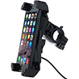 Motorcycle Phone Mount with 5V 2.4A USB Charging Port, Leepiya Universal Cell Phone Holder for Apple iPhone, Samsung Galaxy, LG, HTC, Nexus & GPS Navigators, 3.5 – 6.5 Inches Adjustable Cradle Clamp