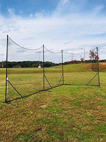 CrankShooter 10' x 30' Lacrosse Backstop System 3mm Polyester Mesh Black Net Variable Configurations, Lacrosse Backstop Net Boys, Girls, Women Men
