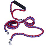 Double Dog Leash - Double Dog Leash No Tangle, PETBABA 4.6ft Long Padded Handle Braided Dog Lead for 2 Dogs Red-Blue