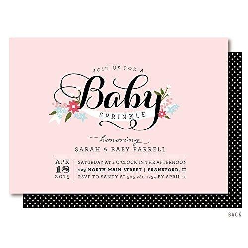 Elegant Baby Girl Sprinkle Invitations -