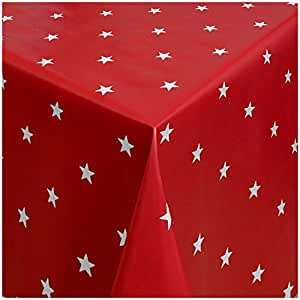 MG Oilcloth-Tablecloth Washable Christmas Design Stars Red-Silver ( 280-01 ) - 210 X 140 Cm