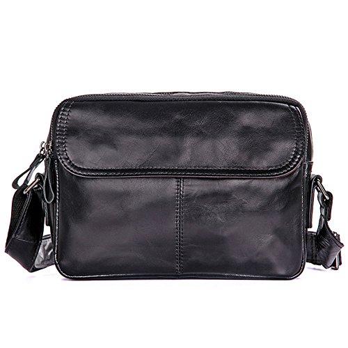 kinokoo Genuine Leather Messager Bag Shoulder Bag&Crossbody Bag for Men (black)