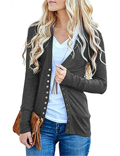 Traleubie Women's Long Sleeve V-Neck Button Down Knit Open Front Cardigan Sweater