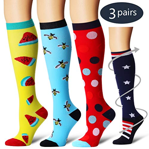 Laite Hebe Compression Socks,(3 Pairs) Compression Sock Women & Men - Best Running, Athletic Sports, Crossfit, Flight Travel£¨Multti-colors13-L/XL£
