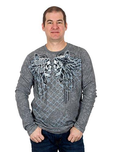 Men's MMA Elite Long Sleeve Thermal Style Shirt (Granite, 2X)