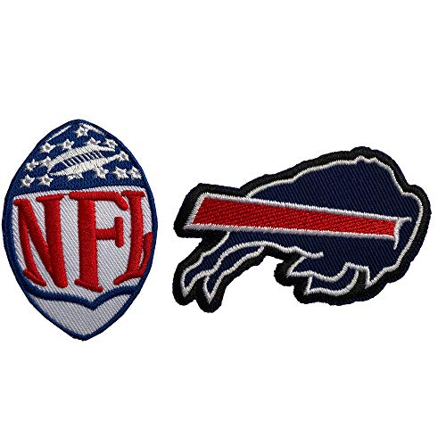 (Hipatch Buffalo Bills Embroidered Patch Iron on Logo Vest Jacket Cap Hoodie Backpack Patch Iron On/sew on Patch Set of 2Pcs)