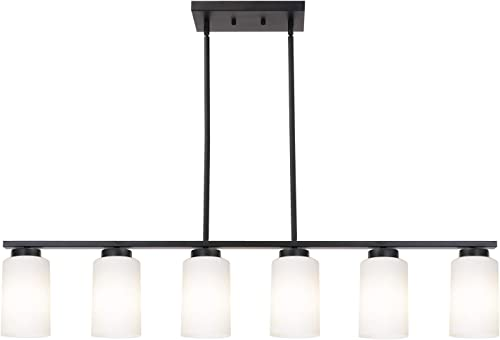 TODOLUZ Black Farmhouse Pendant Light with 6 Opal White Glass Shades Modern Chandelier for Kitchen Living Room Diving Room