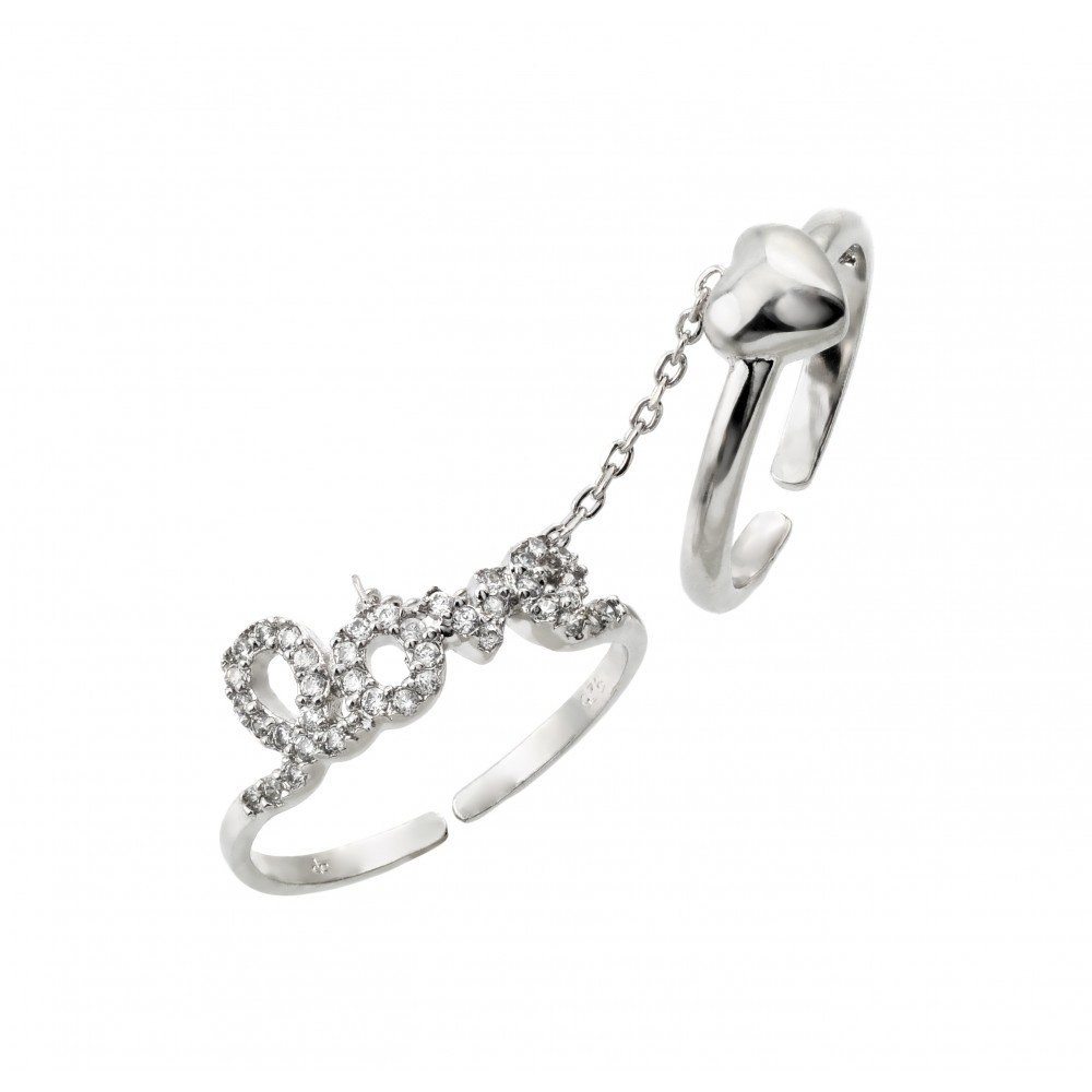 Clear Cubic Zirconia Love Heart Knuckle Slave Ring Rhodium Plated Sterling Silver Size 8