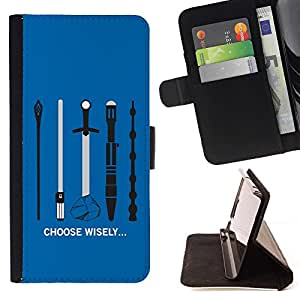 For Sony Xperia M2 Case , Elija sabiamente su arma- la tarjeta de Crédito Slots PU Funda de cuero Monedero caso cubierta de piel