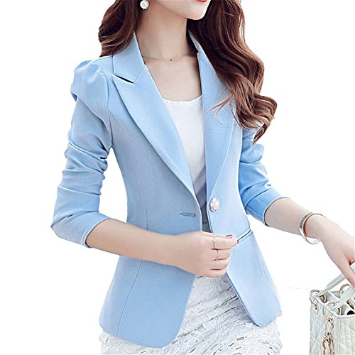 Mikty Casual Work Office Blazer One Button Jacket for Women and Petites #2 Blue US S 6