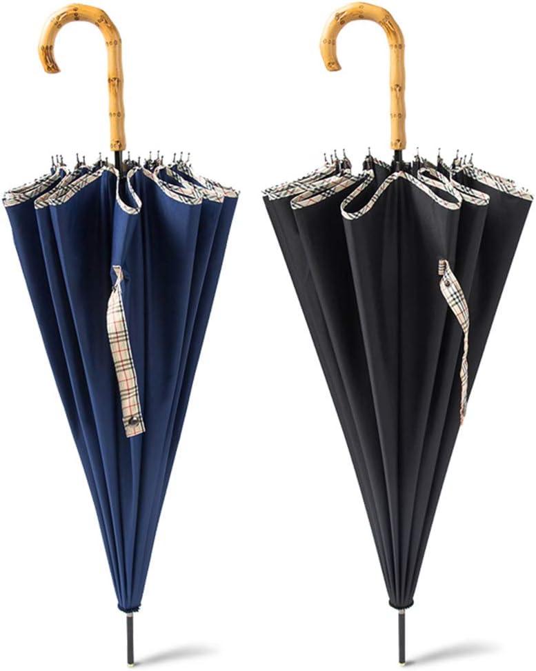 Alfredch Automatic Double Straight Handle Super 16 Bone Umbrella Large Umbrella Color : Black