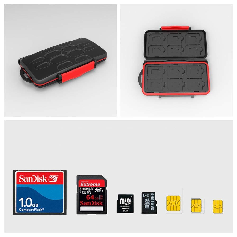 Limeo Memory Card Protection Box Memory Card Case Memory Card Bag Protective Cover for Memory Card SD TF Cards Protector Cover Resistant Protector Memory Card SD Memory Card Box Black Red