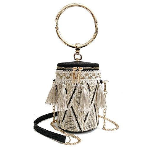 Style Bucket Cylindrical Straw Bag Bolso Hecho A Mano con Forma De Barril Bolso Bandolera con Interior De Metal Handle Crossbody Bag Beige BEIGE