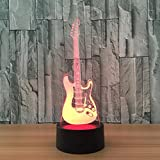 3D Guitar LED Night Light / Optical Illusion Desk Lamp/3D Optical Illusion Night Light, 7 Color LED 3D Lamp, Guitar 3D LED For Kids and Adults, Musical Instrument Light Up/ Birthday Creative Gifts