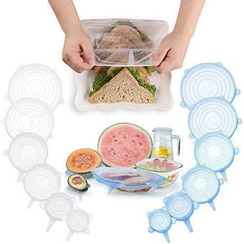 6 unidades de tapas de silicona el/ásticas de almacenamiento reutilizables mantiene los alimentos frescos y las fundas de ahorro de alimentos microondas y congelador. sin BPA apto para horno