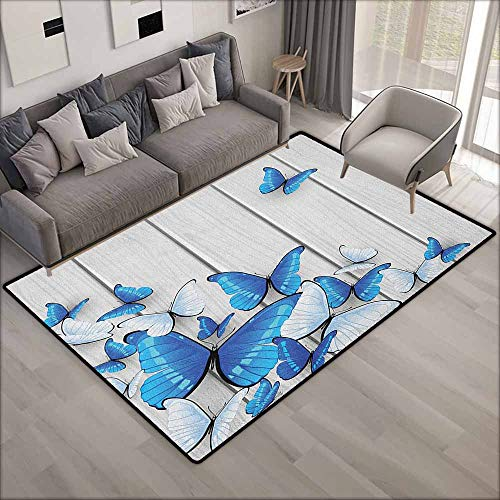 (Outdoor Patio Rug,Butterflies Blue and White Butterflies on Wooden Background Timber Wall Rustic Life,Anti-Slip Doormat Footpad Machine Washable,3'11