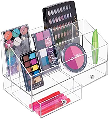 Organizador de ba/ño para cosm/éticos y maquillaje transparente Pr/áctica caja transparente de pl/ástico con tapa abatible mDesign Juego de 2 organizadores de maquillaje apilables