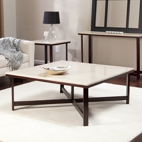 Sleek Contemporary Modern Square Wood Coffee Table Cocktail Style Danish Walnut End Living Room Furniture Faux Travertine Top (Top Square Coffee Table)