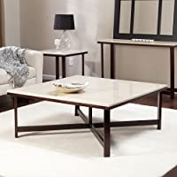 Sleek Contemporary Modern Square Wood Coffee Table Cocktail Style Danish Walnut End Living Room Furniture Faux Travertine Top