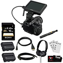 Sony DSLR CLMV55 CLM-V55 LCD Monitor Viewfinder + Sony 16GB MC + 2 Lithium Ion Batteries + HDMI to Micro HDMI cable + Folding Headphones + Lens Cleaning Kit + LCD Screen Protectors