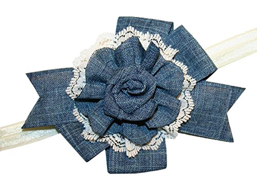 Dance Cowgirl Costumes - WD2U Baby Girls' Vintage Charm Denim & Ivory Lace Hair Bow Stretch Headband