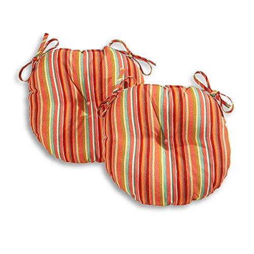 Greendale Home Fashions 18 in. Round Outdoor Bistro Chair Cushion in Coastal Stripe (set of 2), Watermelon