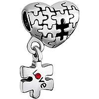 Autism Puzzle Red Birthstone Crystal Charm Heart Love Dangle Sale Cheap Bead Fits Pandora Bracelet