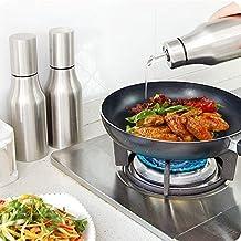 Oil and Vinegar Dispenser - Stainless Steel Olive Oil / Vinegar Dispenser Anti-Drip Oil Bottle Edible Oil Container Tank Household Kitchen Supplies by Newpurslane (500ML)