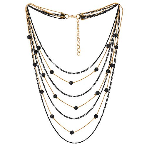 COOLSTEELANDBEYOND Black Gold Statement Choker Collar Necklace Waterfall Multi-Strand Chains Crystal Ball Charm Pendant