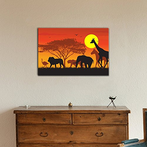 Wall26 African Savanna Sunset Canvas Wall Art - Wild Animals and Acacia Tree on African Savannah at Sunset - Gallery Wrap Modern Home Decor | Ready to Hang - 12x18 inches