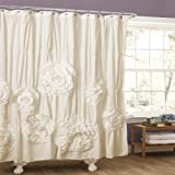 Lush Decor Serena Shower Curtain, 72 by 72-Inch, Ivory