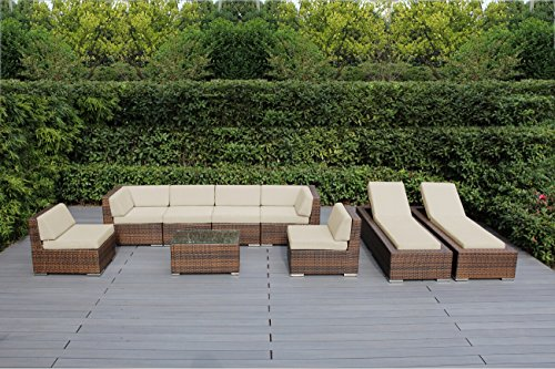Ohana 9-Piece Outdoor Patio Furniture Sectional Sofa and Chaise Lounge Set, Mixed Brown Wicker with Sunbrella Antique Beige Cushions - No Assembly with Free Patio Cover ()