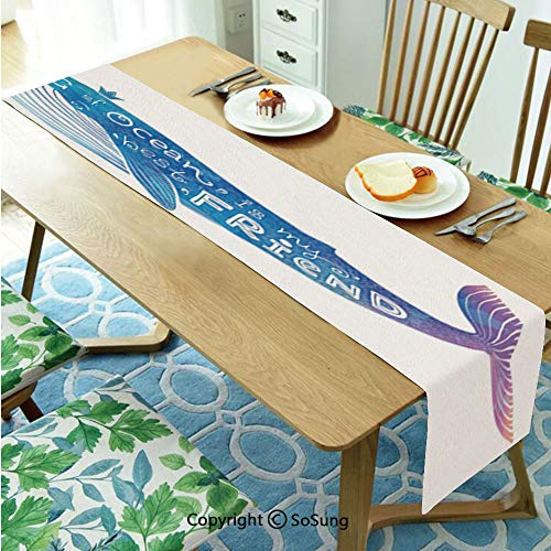 King Table runner for Farmhouse Dining Coffee Table Decorative,King of Ocean is My Best Friend in Watercolor Abstract Style Quote on Whale Print 16
