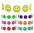 "Goldistock 3/4"" Tyvek Wristbands Happy Smiley Face Variety Pack- Neon: Yellow, Orange,Green, Pink, Aqua, Purple & Red"