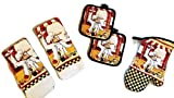 italian kitchen accessories - Italian Cooking Chef Linen Bundle Oven Mitt (1) Towels (2) Pot Holders (2)