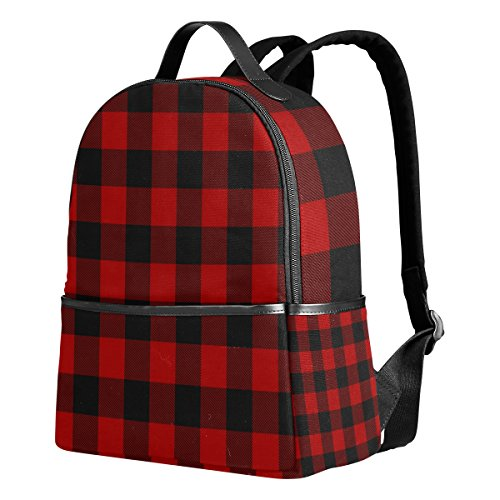 Use4 Christmas Plaid Black Red Polyester Backpack School Travel Bag